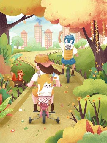 children green travel travel bicycle Ресурсы иллюстрации