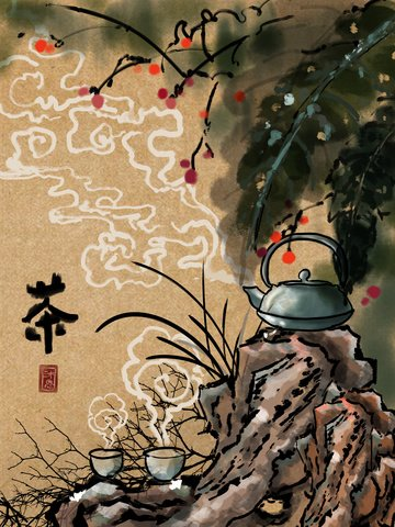 chinese style ink spring tea festival illustration ภาพ