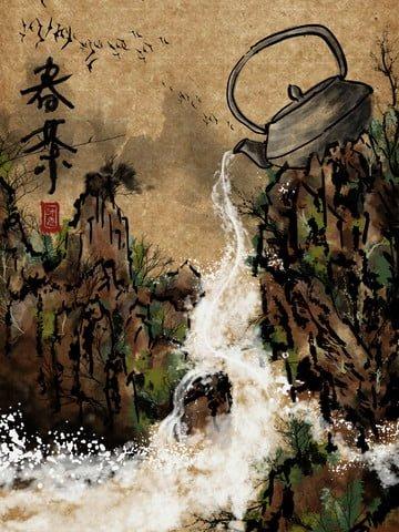 中國風 山水 水墨 春茶節 插畫素材