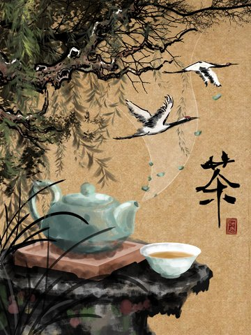 chinese style spring tea festival ink willow ภาพ