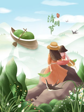 ching ming festival qingming mother and daughter girl llustration image