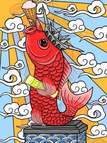 comic goddess of liberty food koi Imagens de ilustração