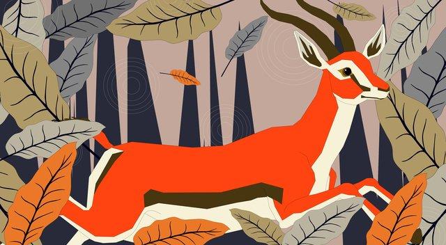 deer leaves mountains color Ресурсы иллюстрации