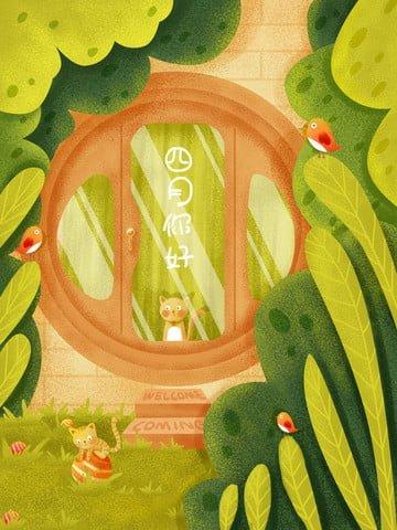 door creative door plant window illustration image