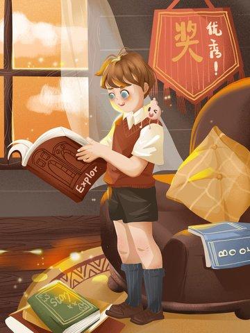 夢を読む本の知識 イラスト素材 イラスト画像