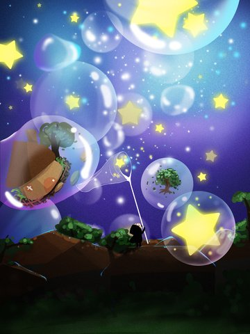 Dreamcatcher catching stars girl bubbles llustration image