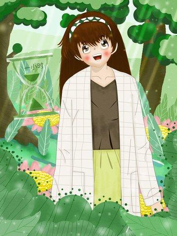giờ trái đất thiên nhiên bảo vệ môi trường cô gái Hình minh họa