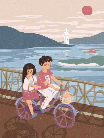 cặp đôi du lịch carbon thấp thân thiện với môi trường đi xe đạp du lịch phản chiếu bên bờ biển hoàng hôn Hình minh họa Hình minh họa