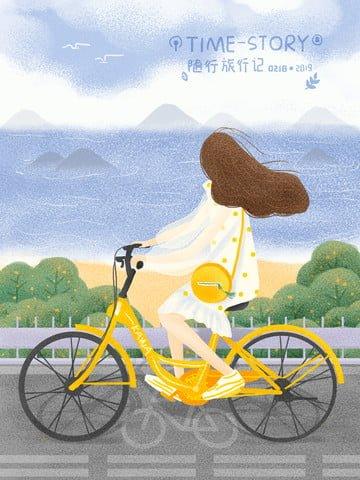 bảo vệ môi trường xe đạp cô gái Hình minh họa