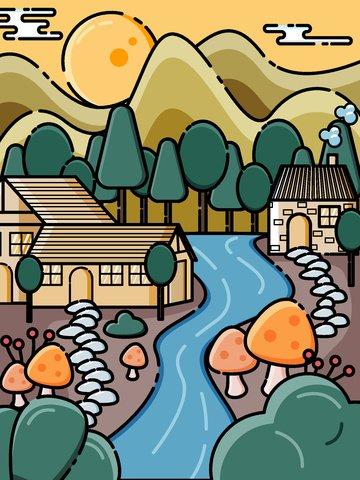遠くの山々 家 秋の森 村 イラスト素材