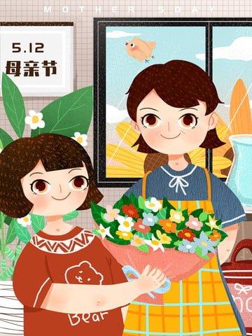 festival mother s day daughter mother llustration image