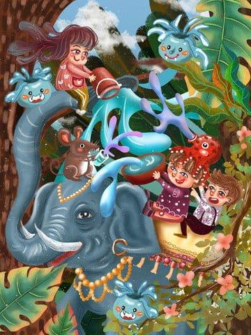 festival songkran festival elephant forest Ресурсы иллюстрации