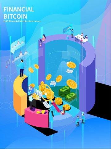 금융 bitcoin 금융 bitcoin 원형 차트 삽화 소재