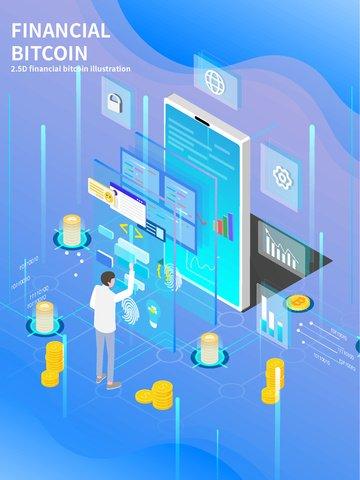 bitcoin finanziario bitcoin finanziario mobile Immagine dell'illustrazione