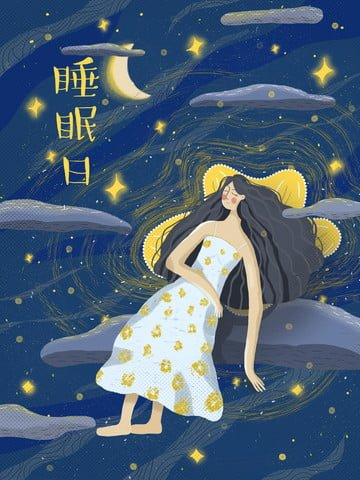 flat wind night girl stars obraz llustration