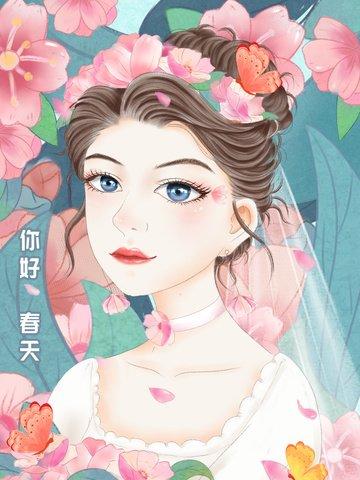 flower girl small fresh illustration beautiful llustration image