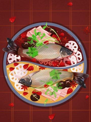 food chinese food hot pot fish Ресурсы иллюстрации