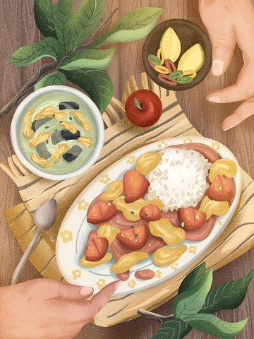 Food festival food food soup llustration image
