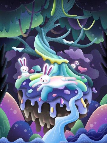 forest fairy cartoon bunny Material de ilustração
