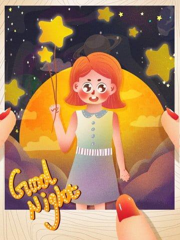 fresh good night holding stars girl Ресурсы иллюстрации Иллюстрация изображения