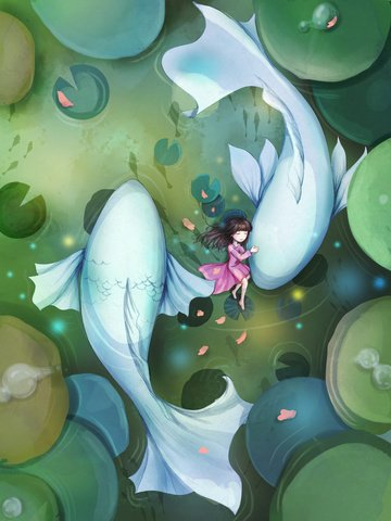 girl april fish small fresh Ресурсы иллюстрации