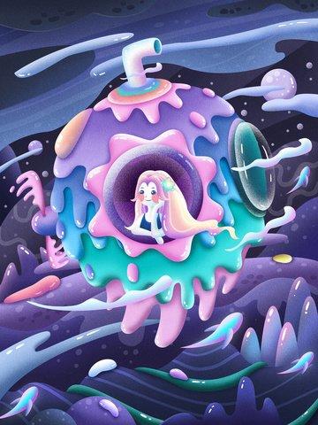girl sea bottom world exploration Material de ilustração Imagens de ilustração