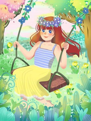 girls  day women s day warm healing illustration image