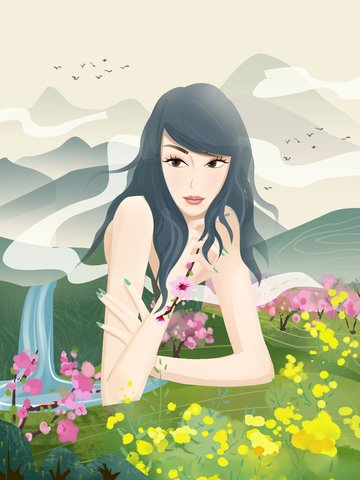nữ thần thiên nhiên vernal equinox mùa xuân trở lại với mực đất Hình minh họa Hình minh họa