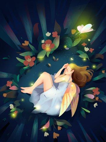 good night cure girl fresh Material de ilustração
