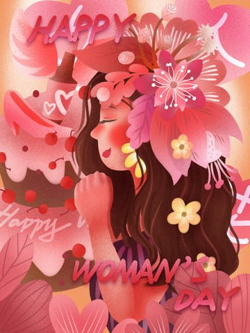 happy women s day women like flowers flowers powder llustration image