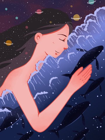 healing illustration whale girl starry sky ภาพ