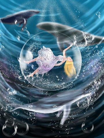healing system whale girl beautiful Ресурсы иллюстрации