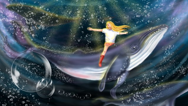 healing system whale girl beautiful Imagem de llustration