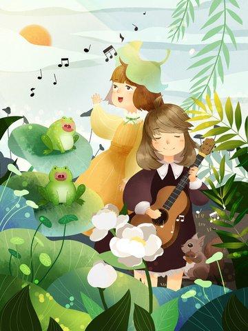 hello spring girl uklele Material de ilustração Imagens de ilustração