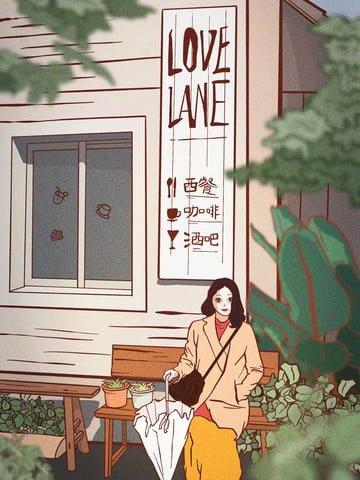 안녕하세요 봄 봄 정원 정원 삽화 소재