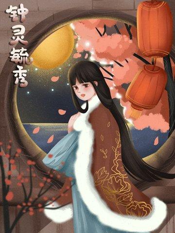 idiom story idiom girl ancient style Ресурсы иллюстрации