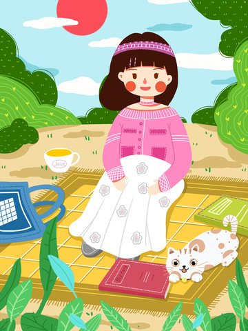 landscape spring little girl hello spring Иллюстрация изображения