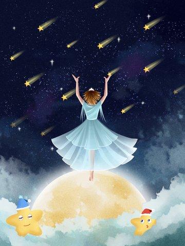 little fresh dream starry moon Imagens de ilustração