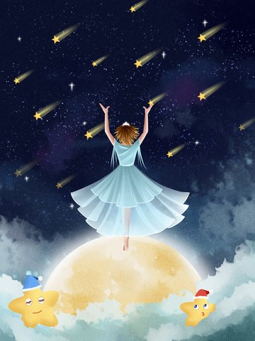 little fresh dream starry moon ภาพภาพประกอบ