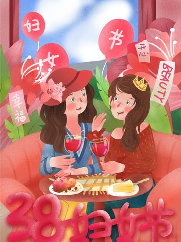 march 8 women s day girlfriends afternoon tea celebration illustration image