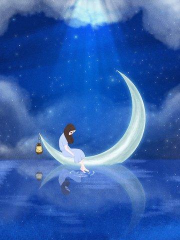 moon girl lights water surface Material de ilustração