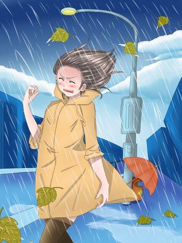 original hand drawn illustration girl rainstorm chinese meteorological day Ресурсы иллюстрации