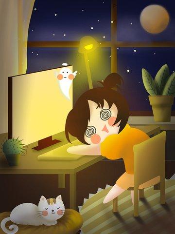 original hand painted illustration world sleep day good night sleep scene illustration illustration image