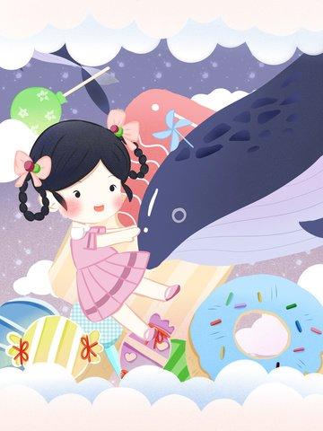 원래 치유 소녀 고래 삽화 소재