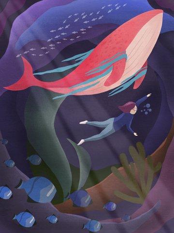 मूल चित्रण गोताखोरी पानी के नीचे की दुनिया लाल व्हेल चित्रण छवि