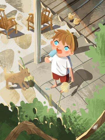 original illustration summer boy Ресурсы иллюстрации