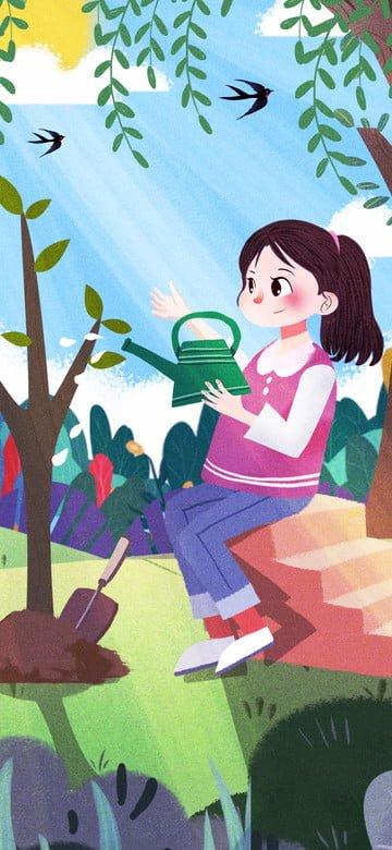 nguyên bản lễ hội trồng cây màu xanh lá cây bảo vệ môi trường Hình minh họa