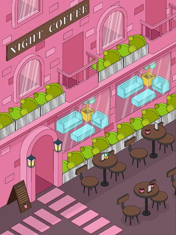 pink street style illustration coffee shop Material de ilustração Imagens de ilustração