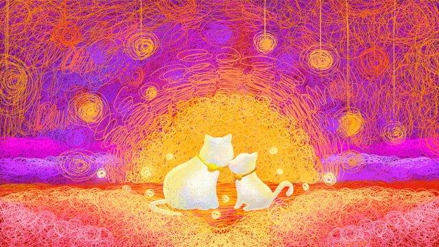 purple coil cat warm Ресурсы иллюстрации