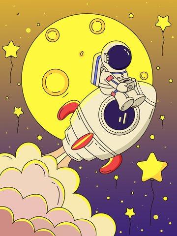 rocket moon astronaut aerospace day Ресурсы иллюстрации